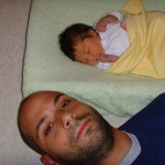 Abe with Maya at 6 days old