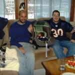 Abe, Ben, and Maya watching the game